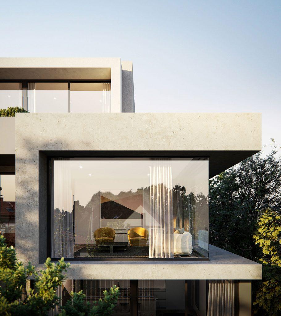 large windows for modern external facade at multi-residential development in kew