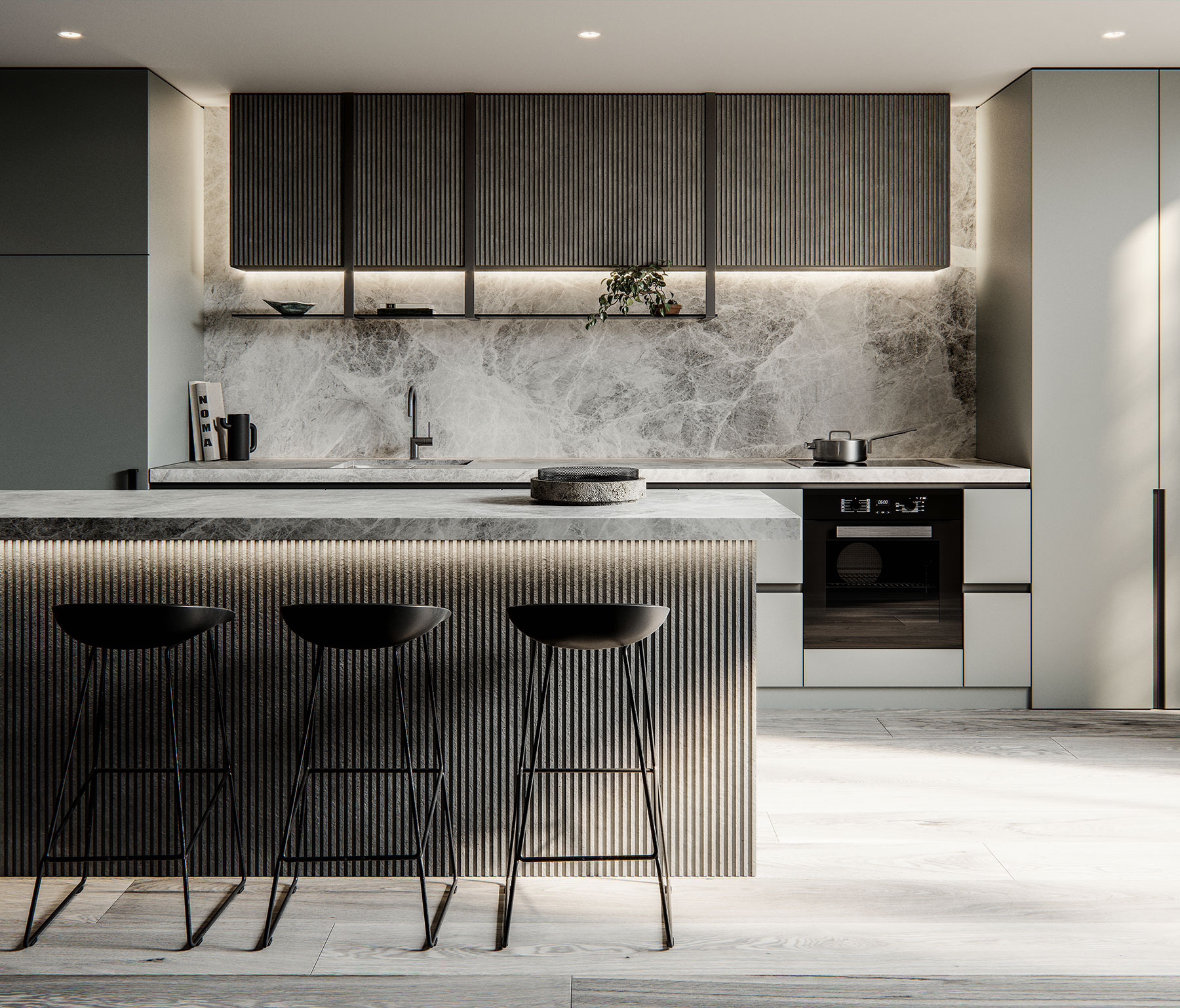 grey interior design scheme with lighting for multi-residential development by c.kairouz architects