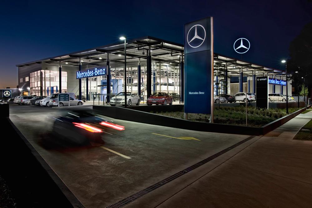 ck architects mercedes benz dealership exterior view