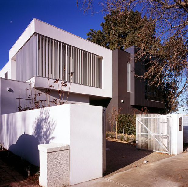 c kairouz architects elwood townhouse exterior angle shot white house