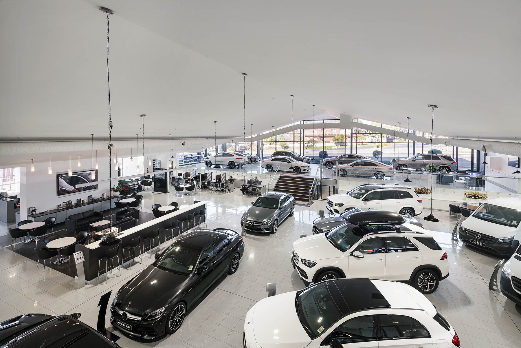 c. kairouz architects commercial interior design for car dealership showroom fitout image