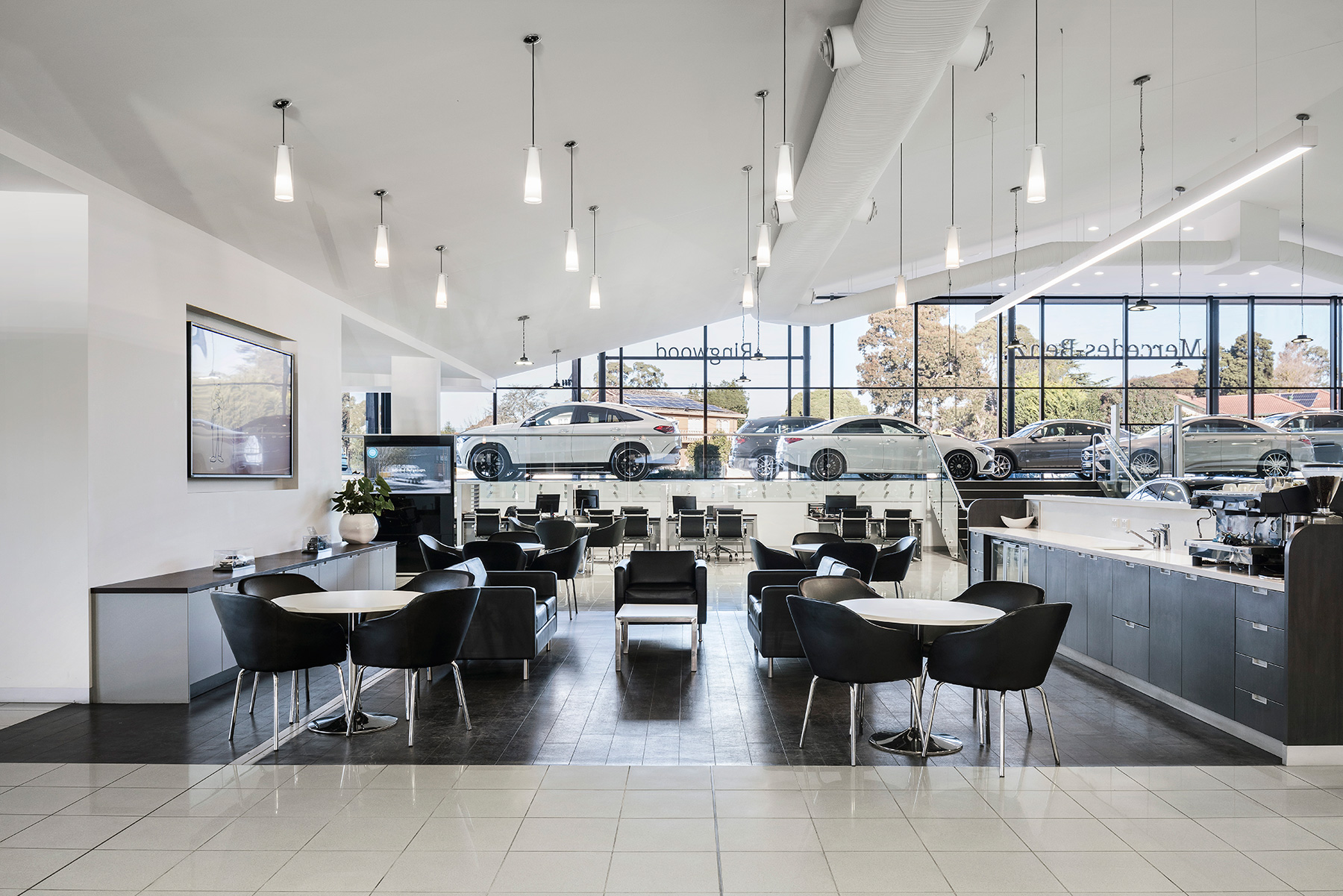 c. kairouz architects commercial interior design for car dealership showroom fitout kitchen image