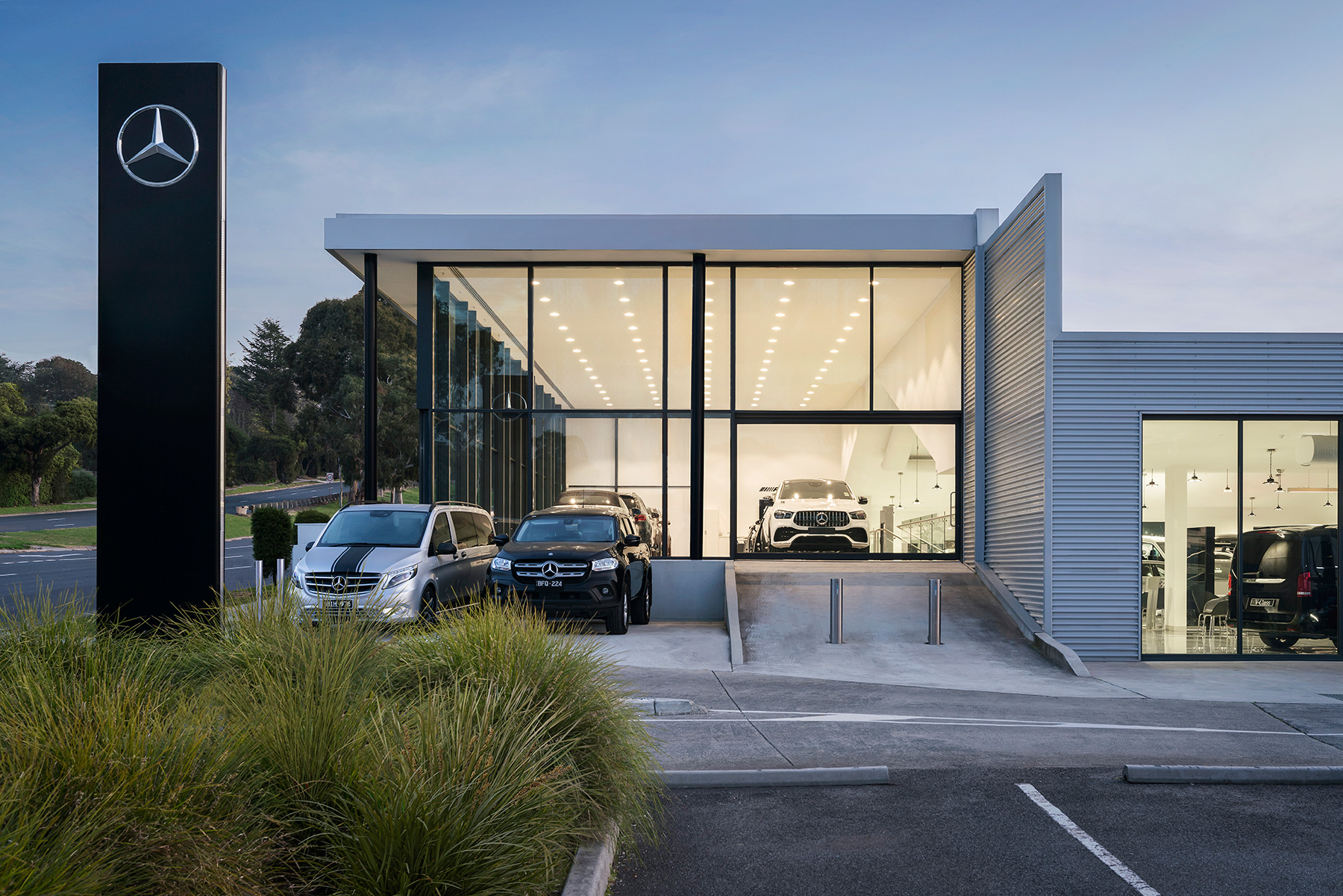 c. kairouz architects commercial architecture design for car dealership exterior building side view image