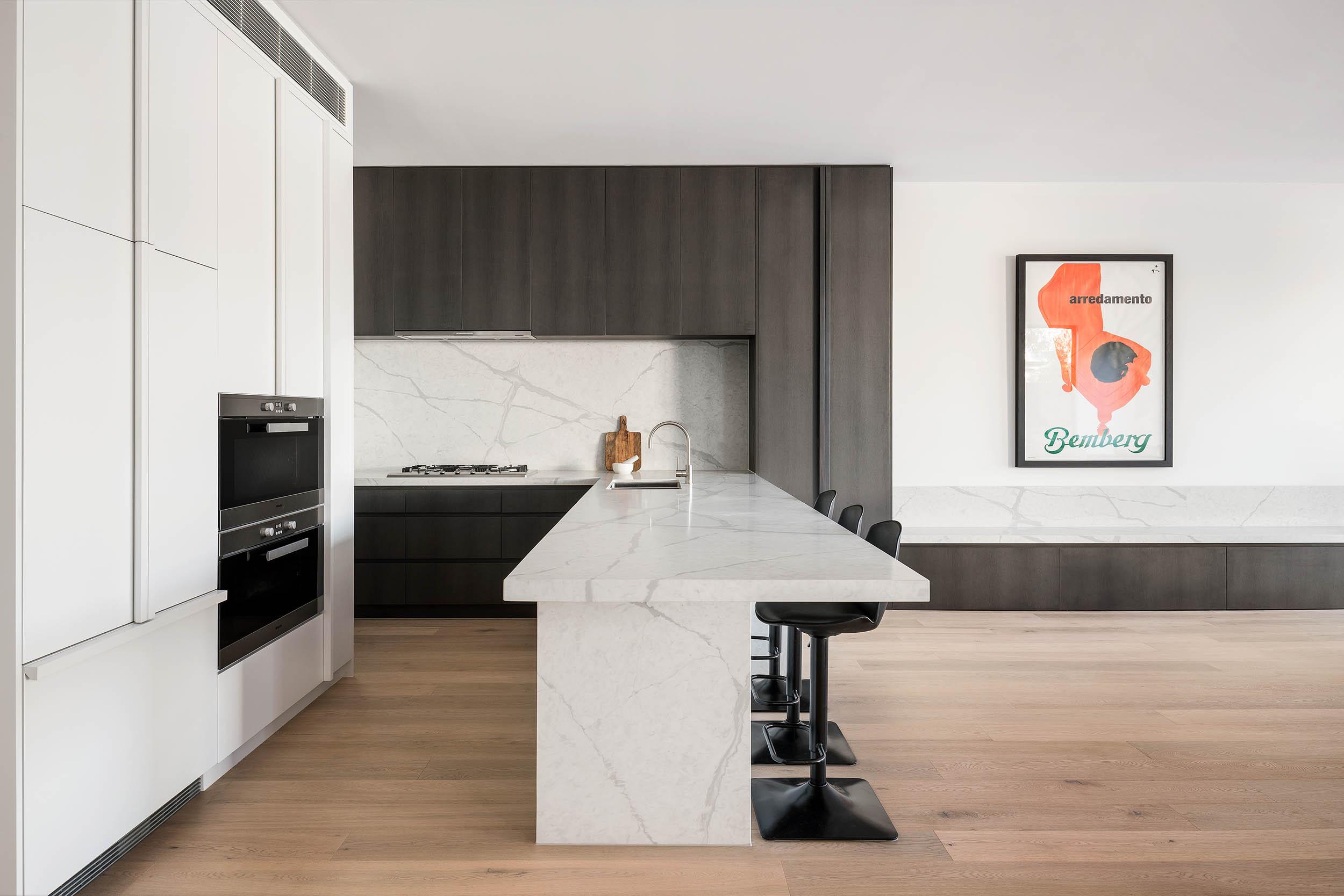 c.kairouz architects fairfield townhouse architectural interior kitchen design side view