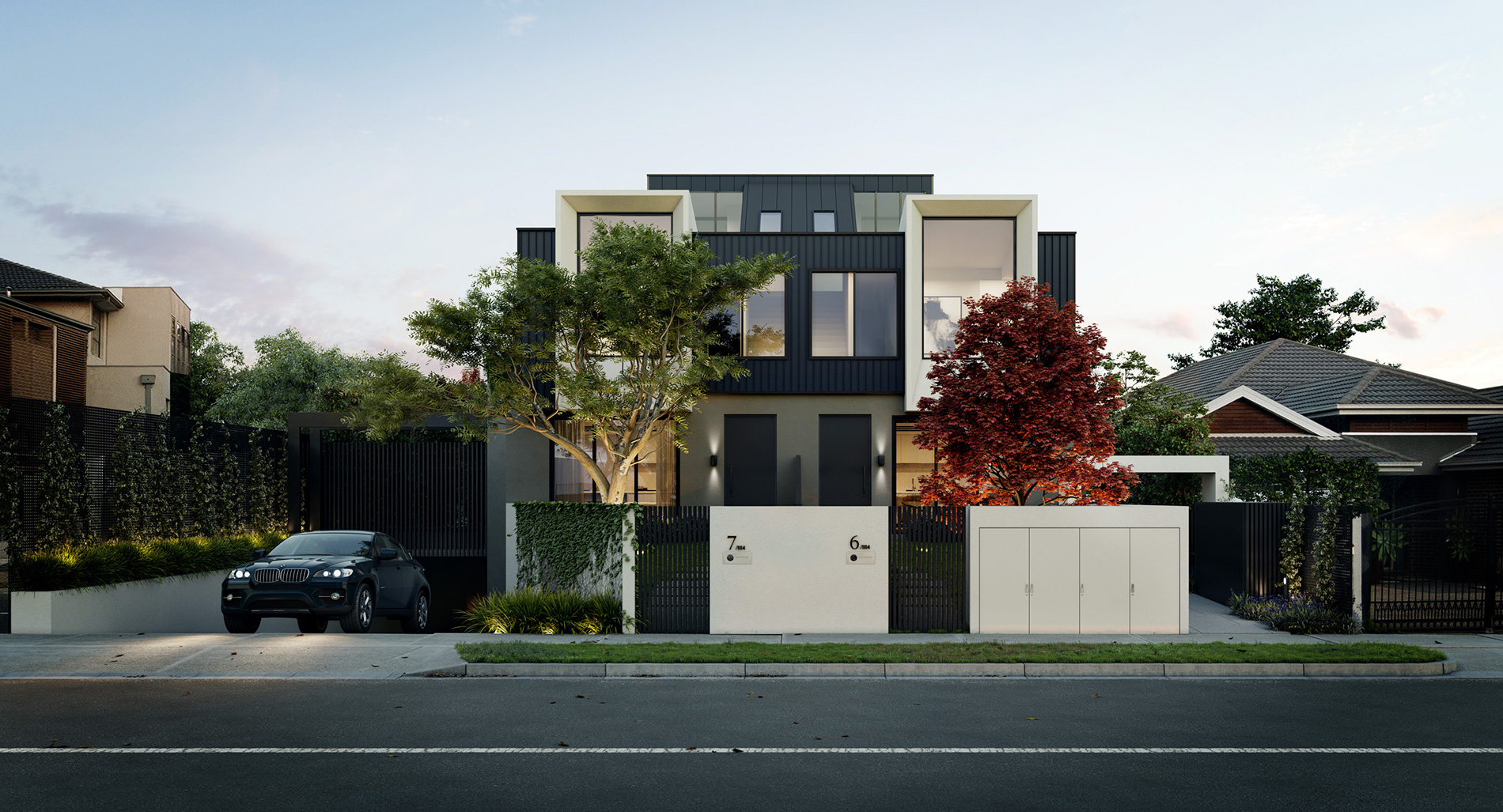 external front facade townhouse design in Balwyn by C.Kairouz Architects