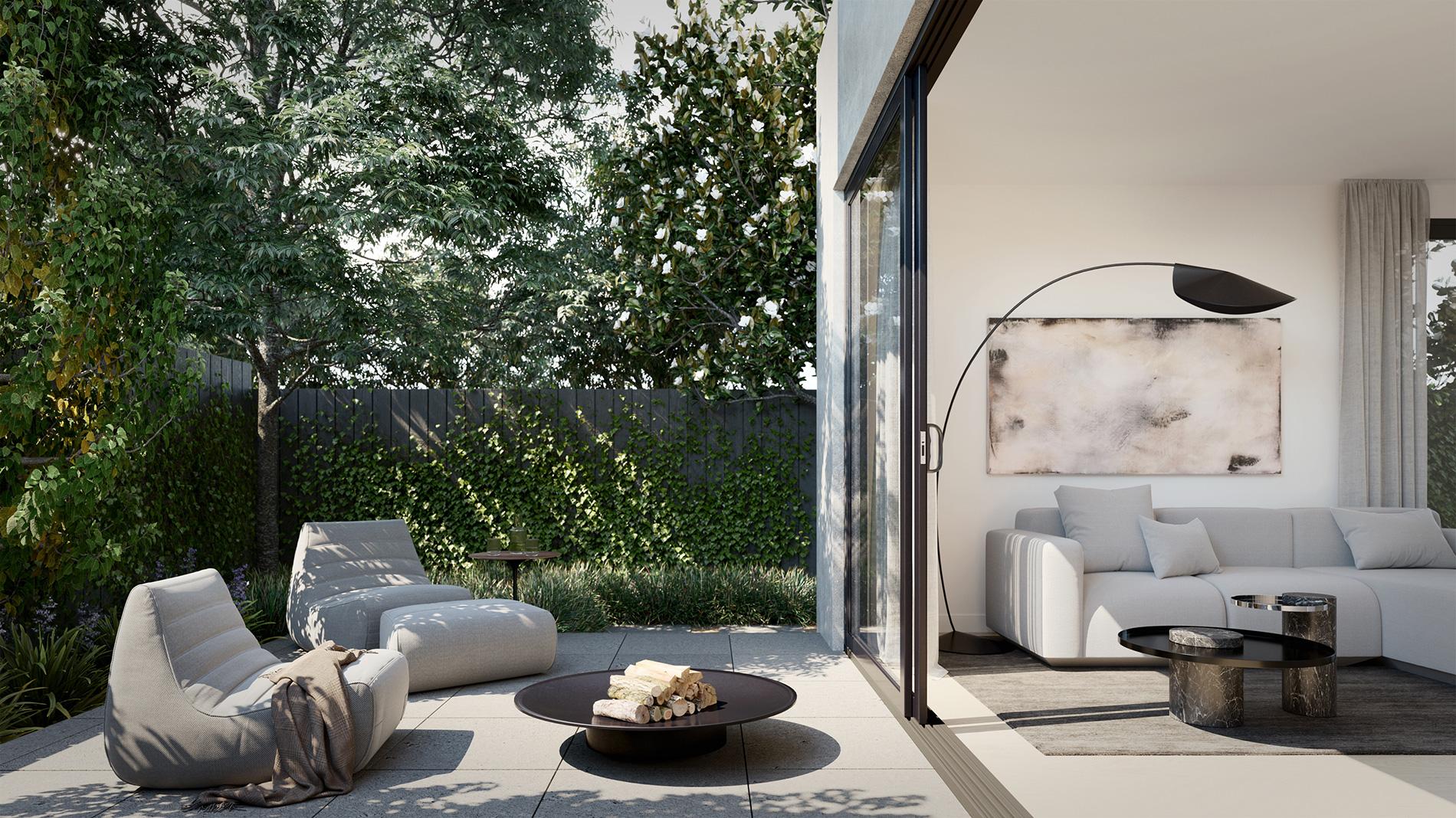 balwyn-townhouses-ckairouz-architects-outdoor-terrace-yard-livingroom