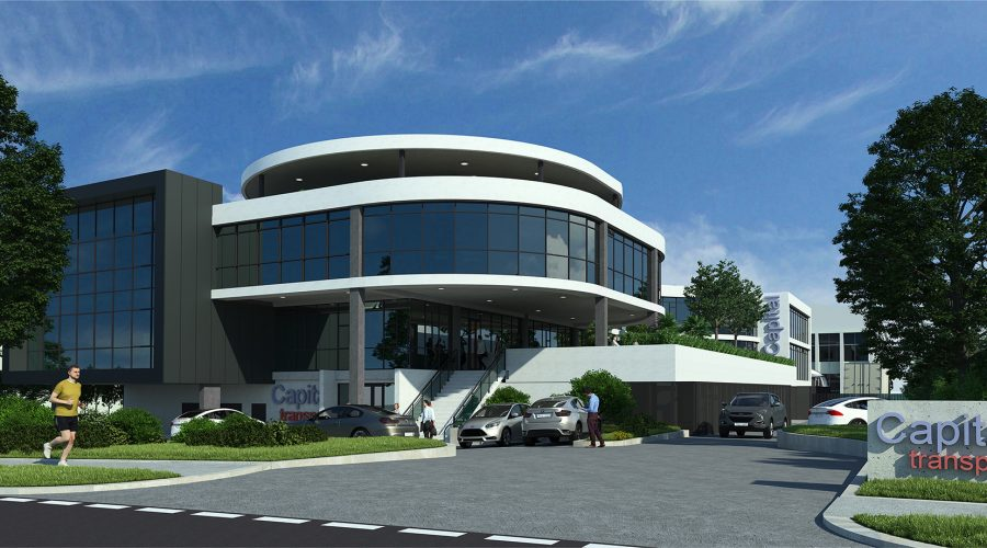 street frontage of office design for a large national transportation company
