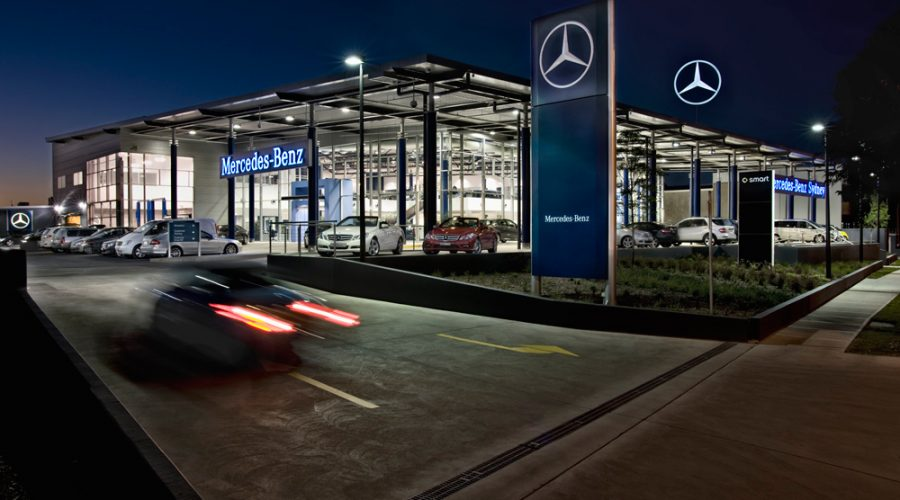 ck architects mercedes benz dealership exterior view