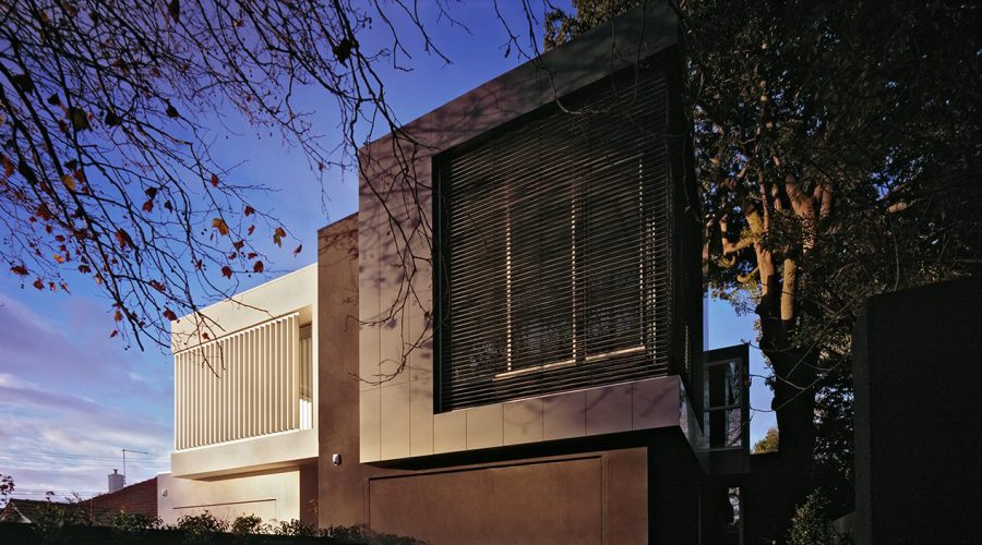 c kairouz architects elwood townhouses exterior close up angled view